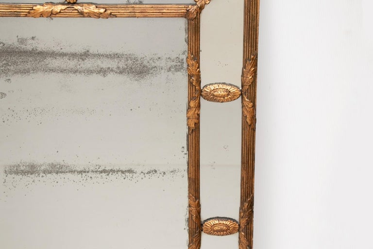 Gilt Antique Gilded Cushion Mirror with Mercury Glass, circa 1820 For Sale