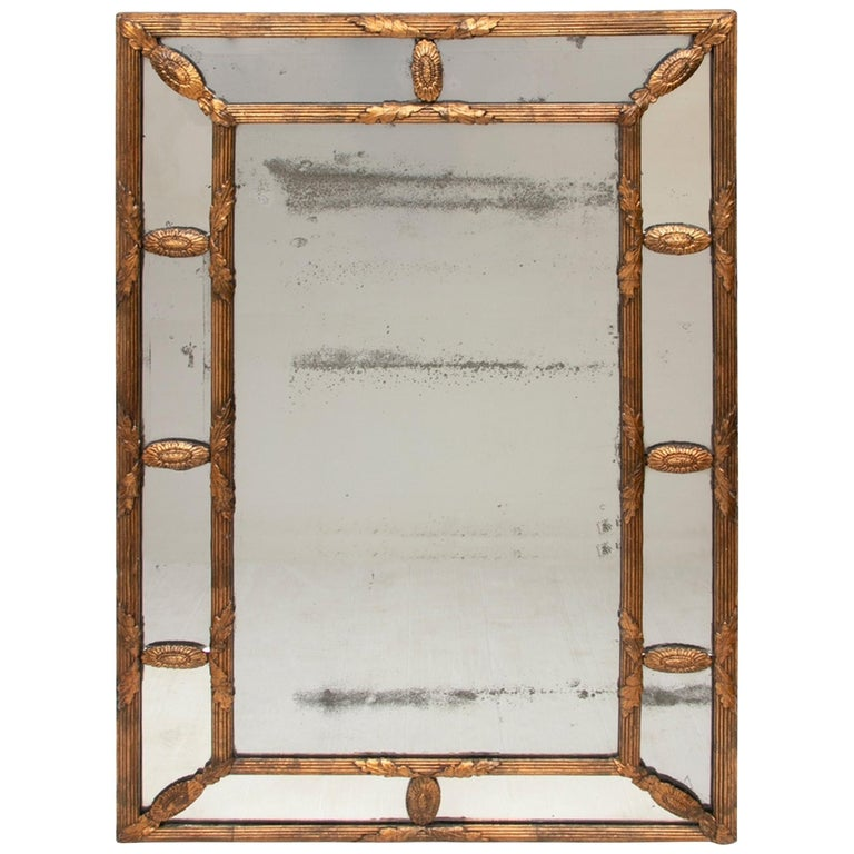 Antique Gilded Cushion Mirror with Mercury Glass, circa 1820 For Sale