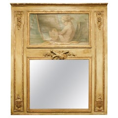 Antique Gilded Louis XVI Mirror with Painting, Inspired by Art, France, 1700