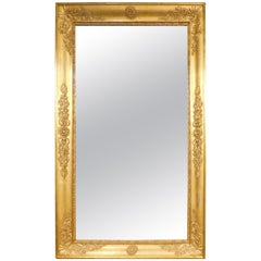 Antique Gilded Mirror with Decorations, Carlo X, Italy
