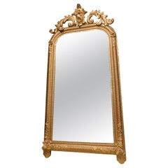 Antique Gilded Mirror with Sculpted Floreal Rib, 19th Century, Italy