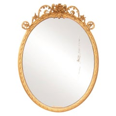 Antique Gilded Oval Mirror, c.1820
