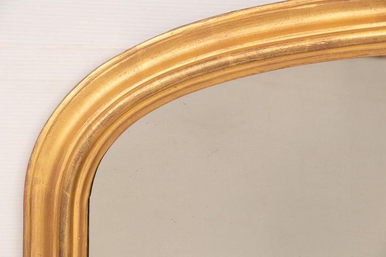English Antique Gilded Overmantel Mirror, circa 1890 For Sale