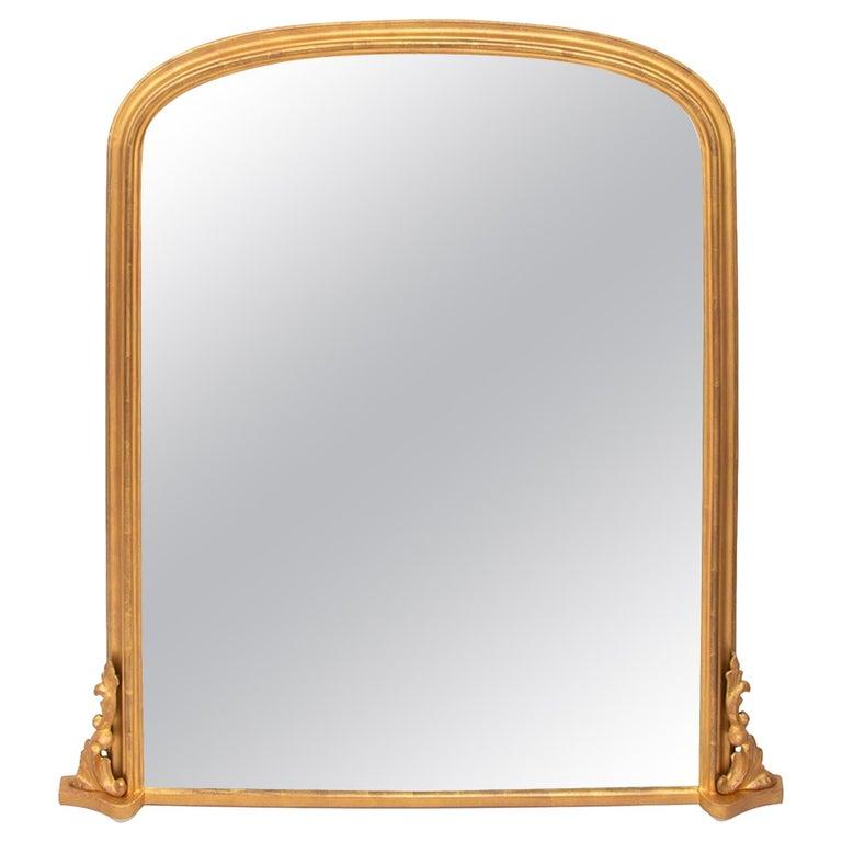 Antique Gilded Overmantel Mirror, circa 1890 For Sale
