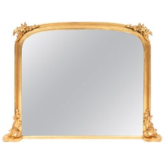 Antique Gilded Overmantle Mirror, circa 1840