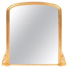 Antique Gilded Overmantle Mirror, circa 1865