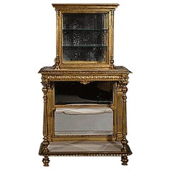 Antique Gilded Wood Étagère with Glass Vitrine, circa 1880