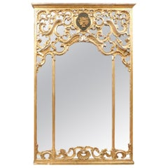 Antique Gilded Wood Mirror, Richly Carved with Putto, 1700, Italy