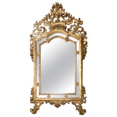 Antique Gilded Wooden Mirror, Great Decor, 1900 France