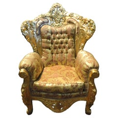 Antique Gilded Wooden Rich Armchair, Damask Fabric, 20th Century, Italy