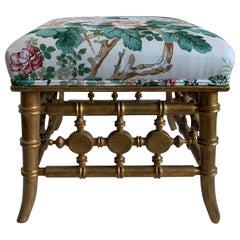 Antique Gilt Bamboo Footstool or Bench
