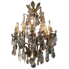 Antique Gilt Bronze and Baccarat Crystal Chandelier with Six Lights