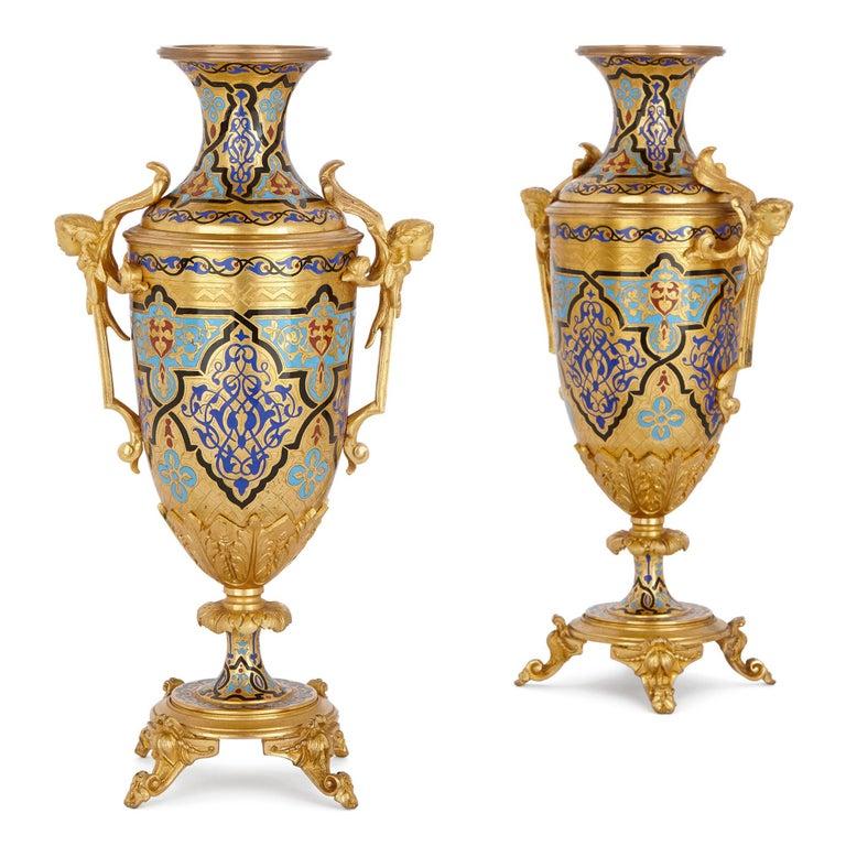 French Antique Gilt Bronze and Champlevé Enamel Clock Set For Sale