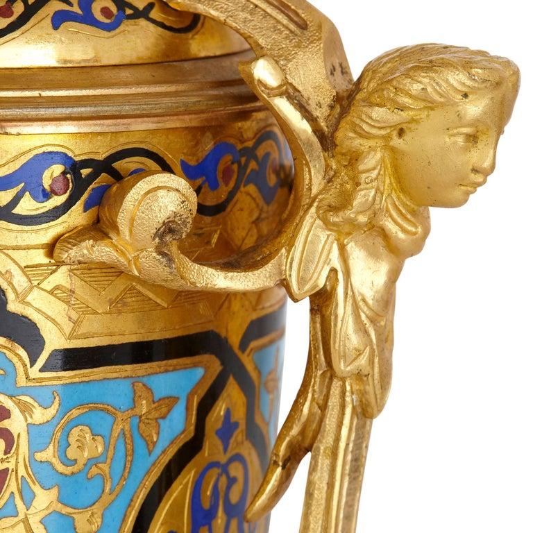 19th Century Antique Gilt Bronze and Champlevé Enamel Clock Set For Sale