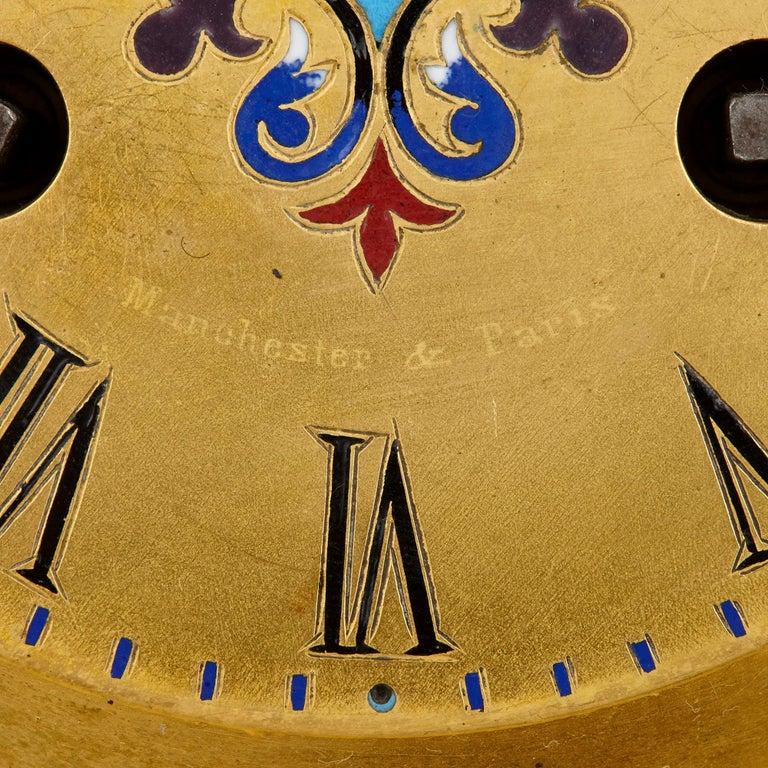 Antique Gilt Bronze and Champlevé Enamel Clock Set For Sale 2