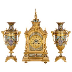 Antique Gilt Bronze and Champlevé Enamel Clock Set