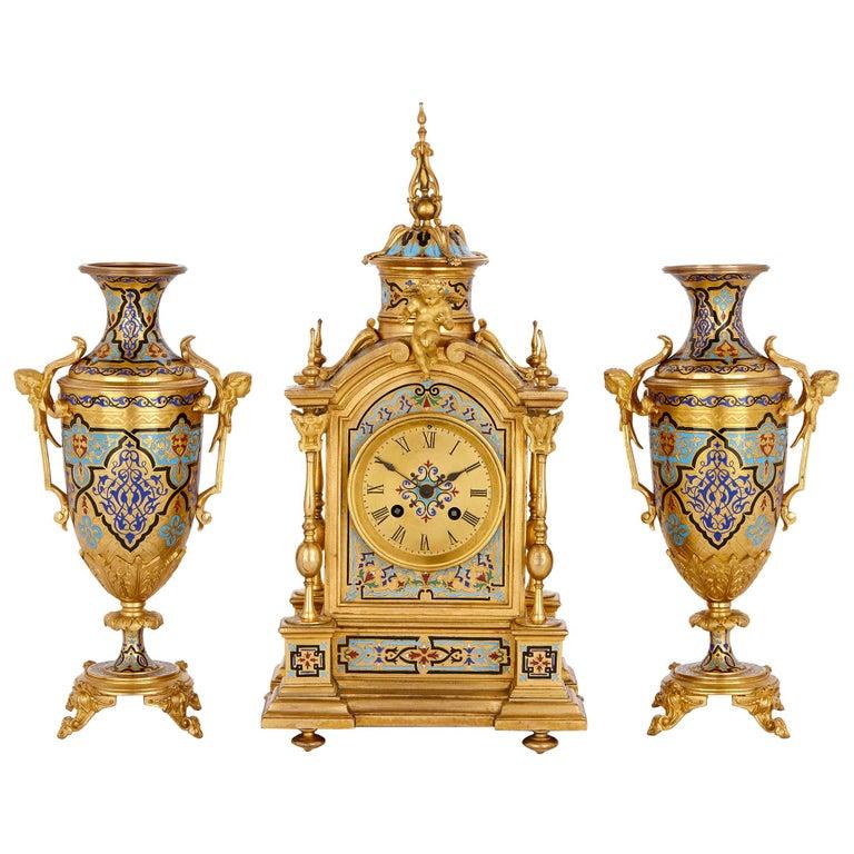 Antique Gilt Bronze and Champlevé Enamel Clock Set For Sale
