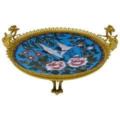 Antique Gilt Bronze and Cloisonné Plate, Japonisme, France, 19th Century