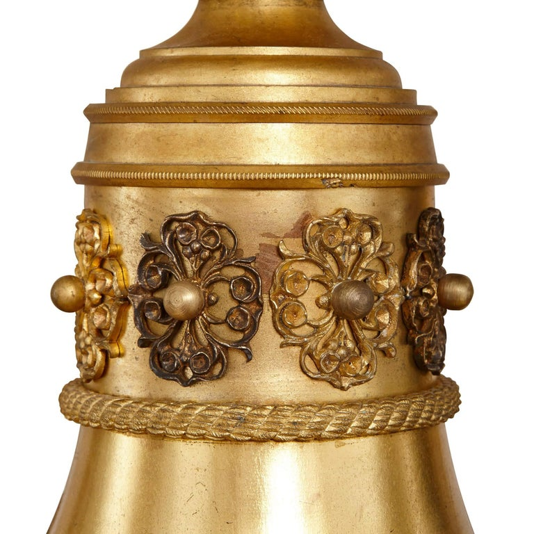 French Antique Gilt Bronze and Opaline Glass Chandelier For Sale