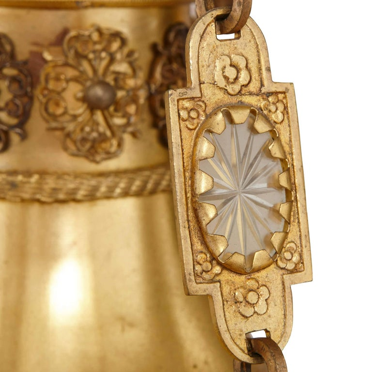 Antique Gilt Bronze and Opaline Glass Chandelier In Excellent Condition For Sale In London, GB