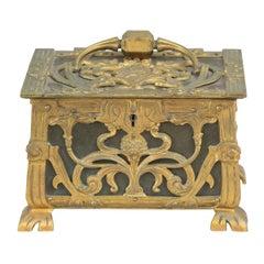 Antique Gilt Bronze Art Nouveau French Jewelry Box, ca 1900