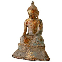Antique Gilt Bronze Buddha Touching the Earth Myanmar Burma