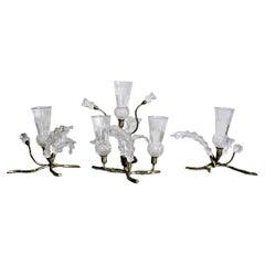 Antique Gilt Bronze & Cut Crystal Figural Thistle Bush Centerpiece Bud Vase Set