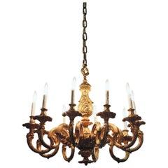 Antique Gilt Bronze French Regence Style 10-Light Bronze Chandelier