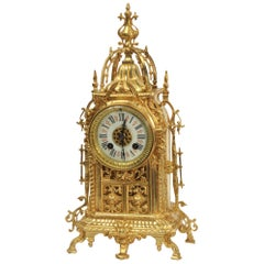 Antique Gilt Bronze Gothic Clock