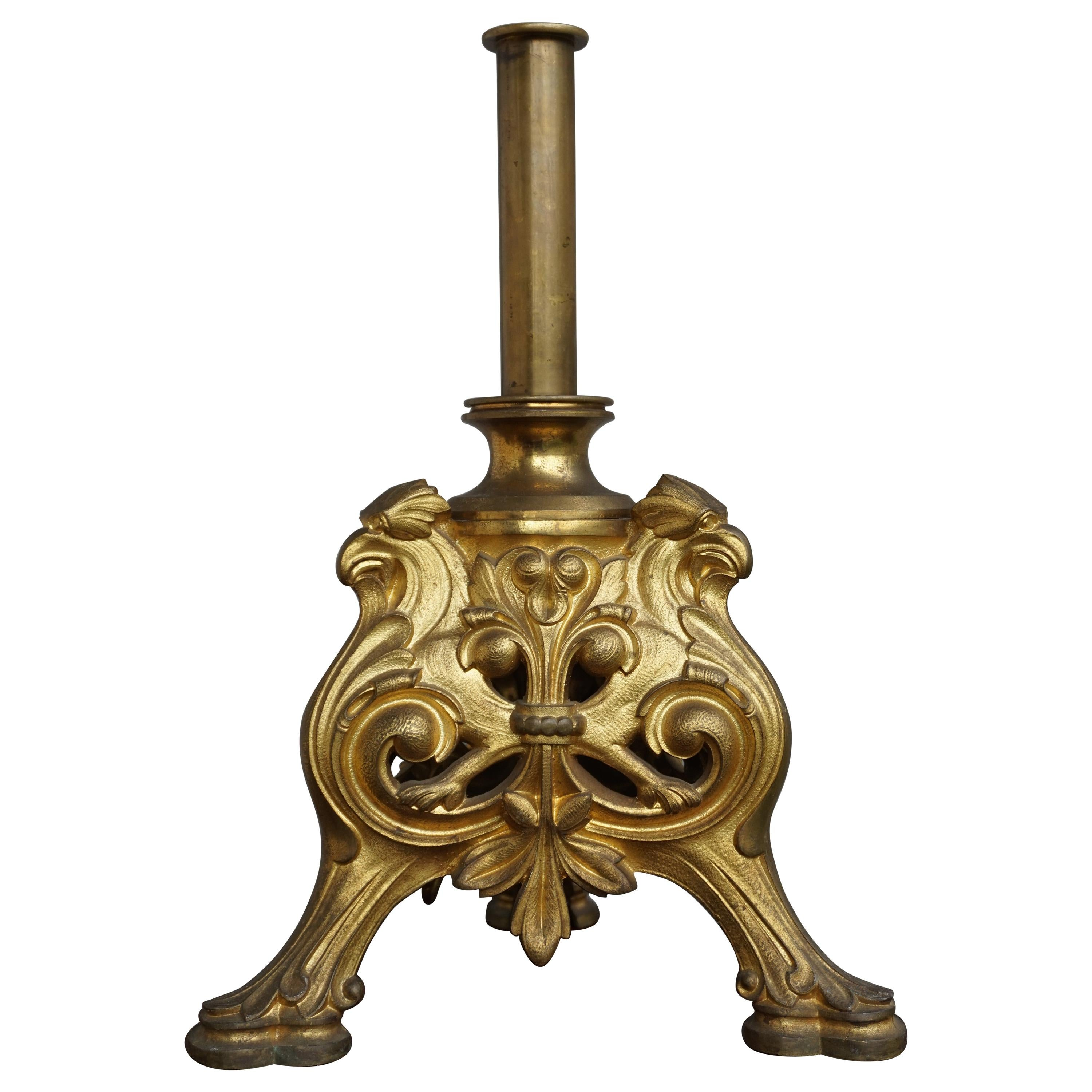 Gilt Bronze Gothic Revival Tripod Base Banner Stand with Eagle Sculptures