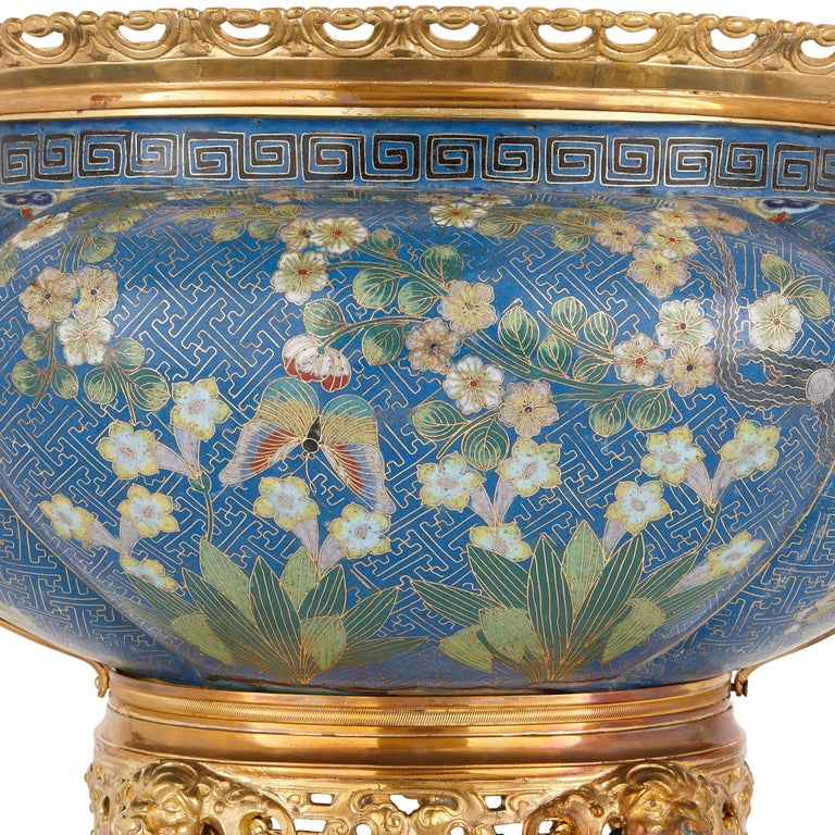 Chinese Export Antique Gilt Bronze Mounted Cloisonné Enamel Jardinière For Sale
