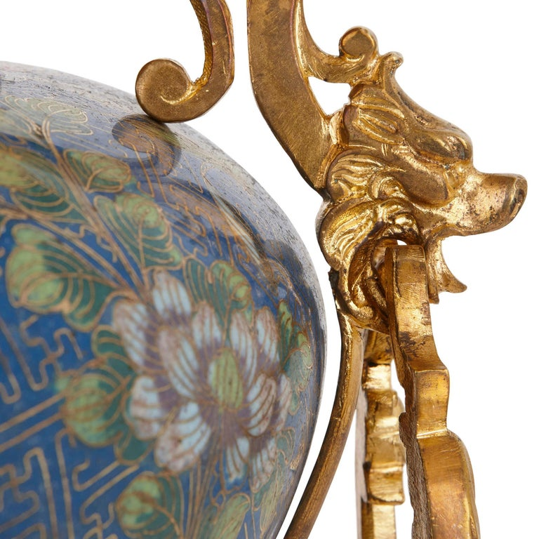 Cloissoné Antique Gilt Bronze Mounted Cloisonné Enamel Jardinière For Sale