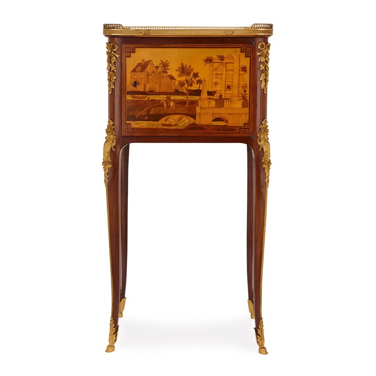 Neoclassical Antique gilt bronze mounted occasional table with marquetry panels For Sale