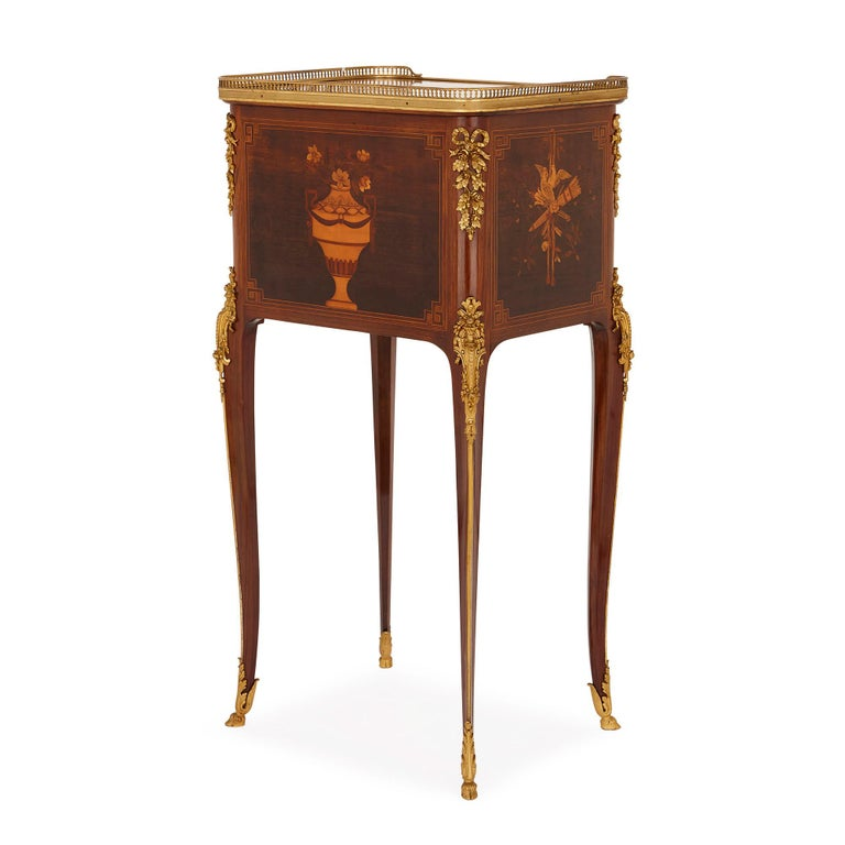 French Antique gilt bronze mounted occasional table with marquetry panels For Sale