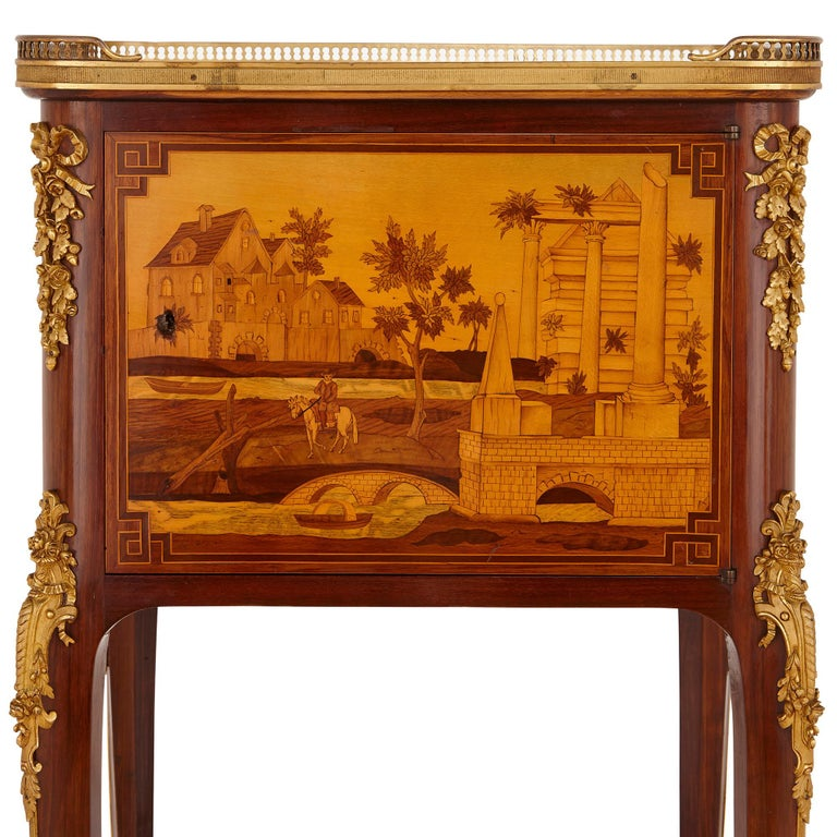 Gilt Antique gilt bronze mounted occasional table with marquetry panels For Sale