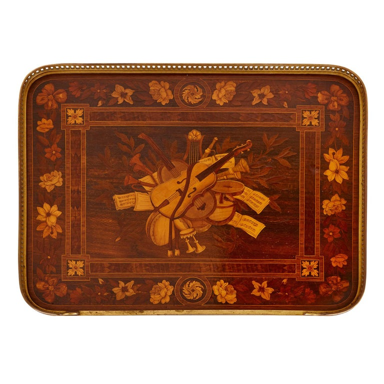 Bronze Antique gilt bronze mounted occasional table with marquetry panels For Sale