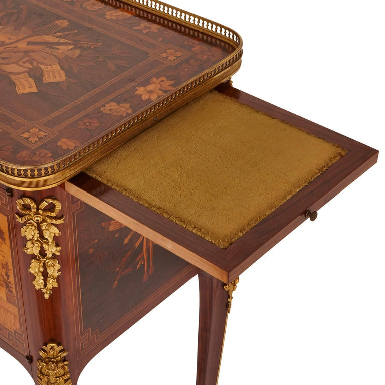 Antique gilt bronze mounted occasional table with marquetry panels For Sale 1