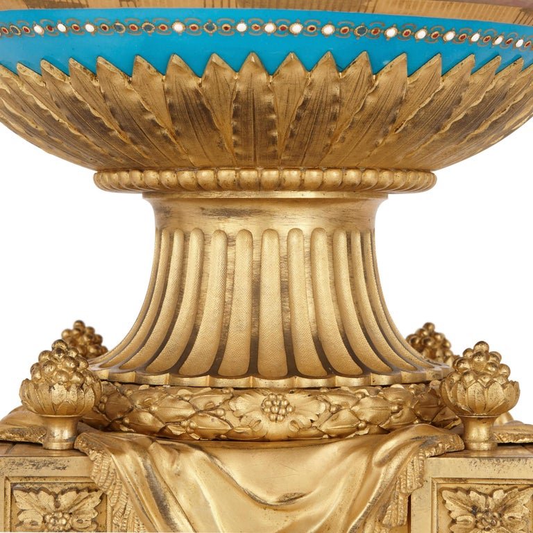Antique Gilt Bronze Mounted Sèvres Porcelain Garniture In Good Condition For Sale In London, GB