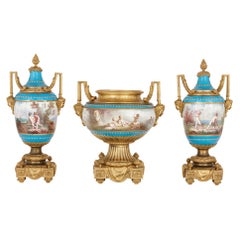 Antique Gilt Bronze Mounted Sèvres Porcelain Garniture