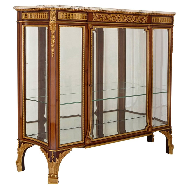Antique Gilt Bronze Mounted Vitrine Cabinet For Sale
