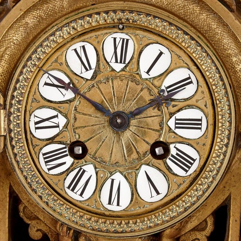Antique Gilt Bronze Three-Piece Clock Garniture In Good Condition For Sale In London, GB