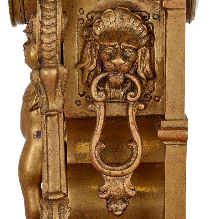 Antique Gilt Bronze Three-Piece Clock Garniture For Sale 1