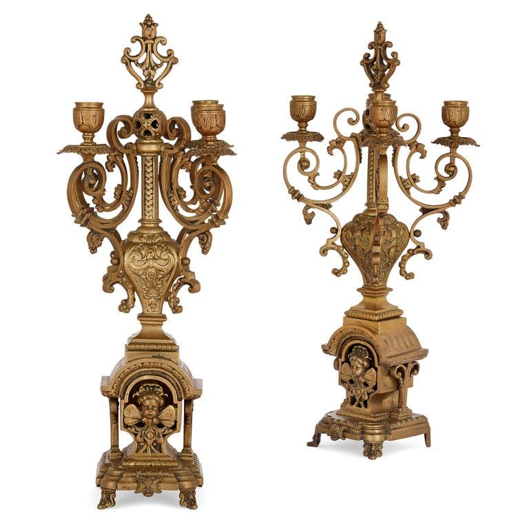 Antique Gilt Bronze Three-Piece Clock Garniture For Sale 2