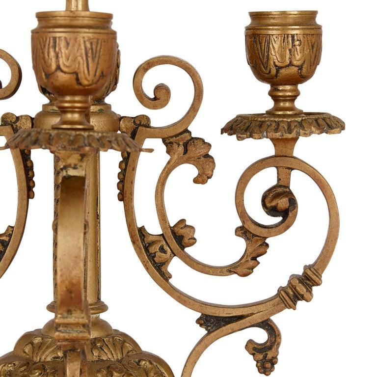 Antique Gilt Bronze Three-Piece Clock Garniture For Sale 3