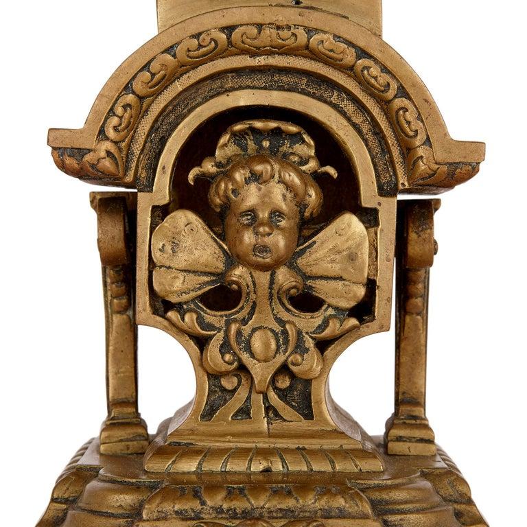 Antique Gilt Bronze Three-Piece Clock Garniture For Sale 4