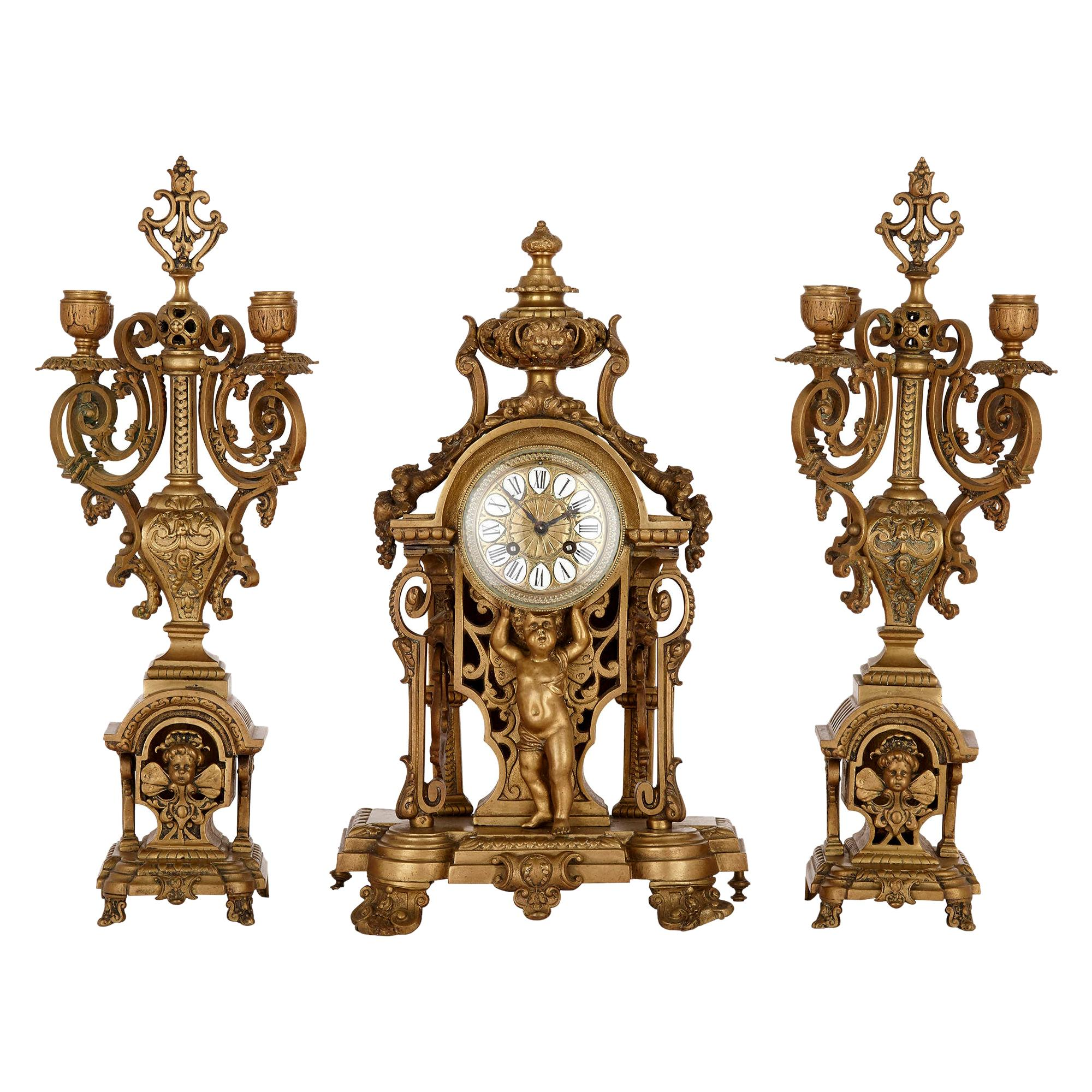 Antique Gilt Bronze Three-Piece Clock Garniture