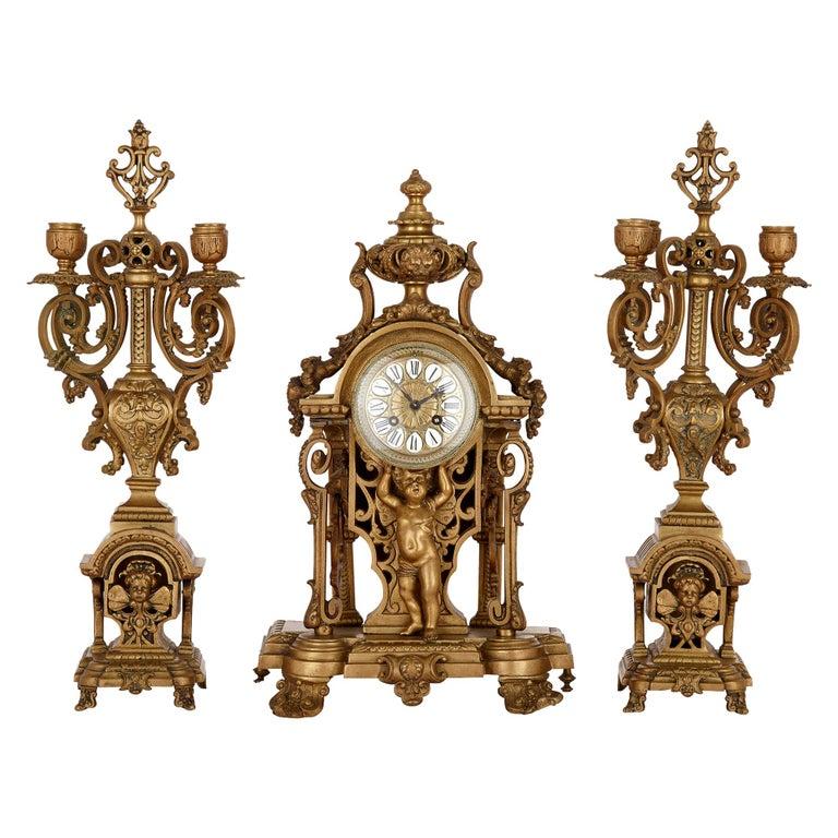 Antique Gilt Bronze Three-Piece Clock Garniture For Sale