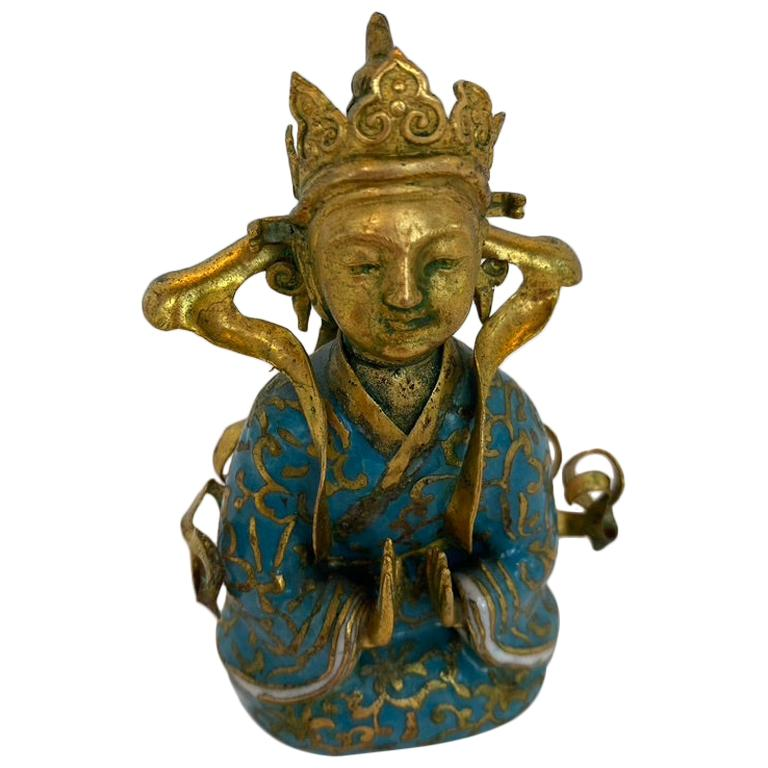 Antique Gilt Bronze Tibetan Buddha Figure For Sale