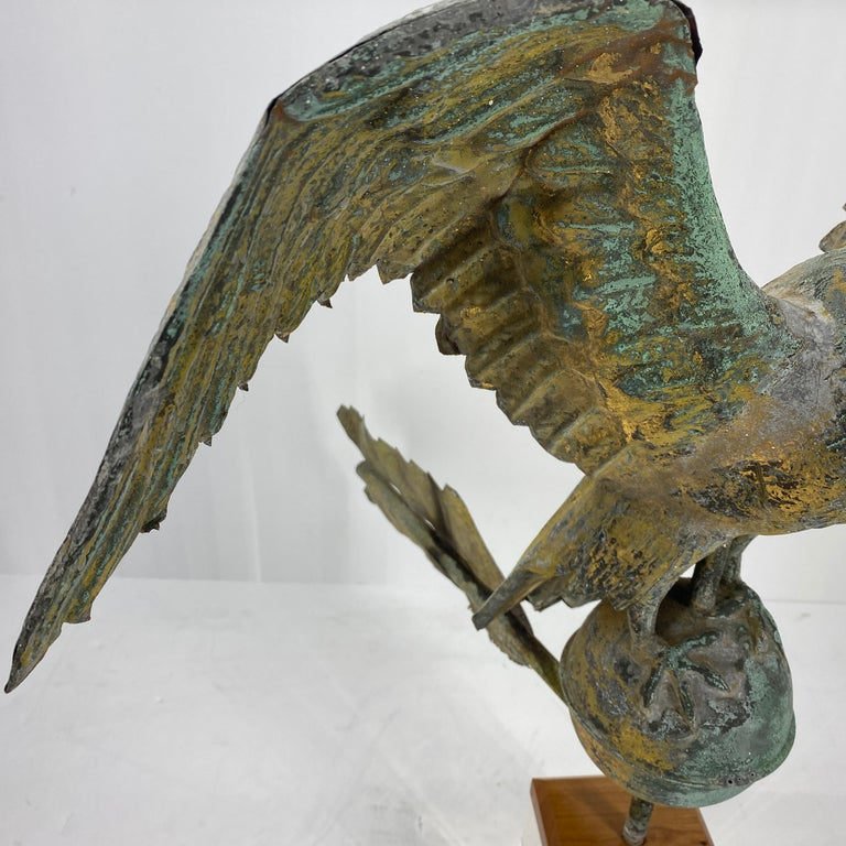 Antique Gilt Copper Eagle Weathervane on Lucite Stand, American, circa 1850 3