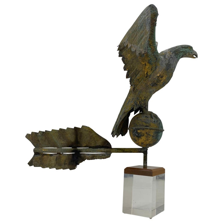 Folk Art Antique Gilt Copper Eagle Weathervane on Lucite Stand, American, circa 1850